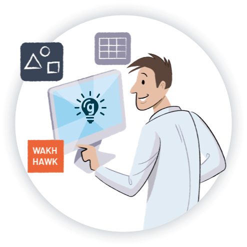 PeopleHawk illustration assessing candidate