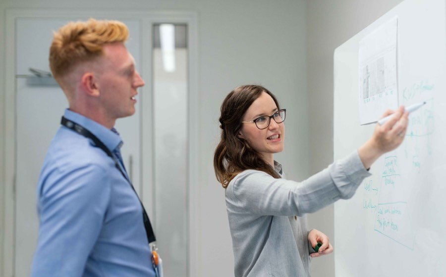 Career planning at whiteboard
